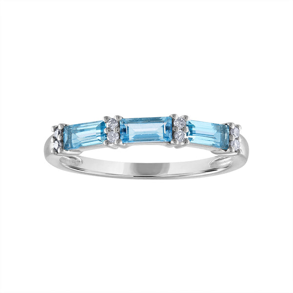 STERLING SILVER DIAMOND BLUE TOPAZ RING