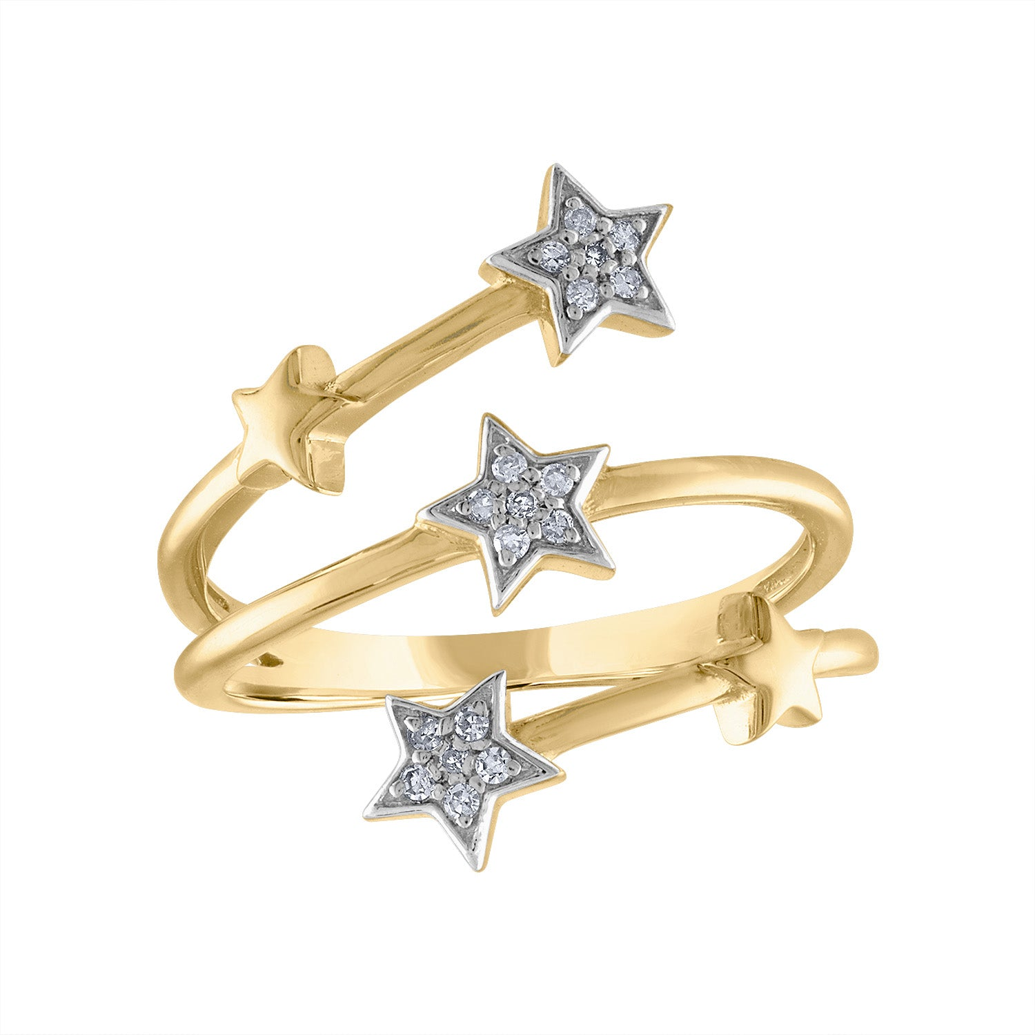 14KT GOLD DIAMOND STAR COIL RING