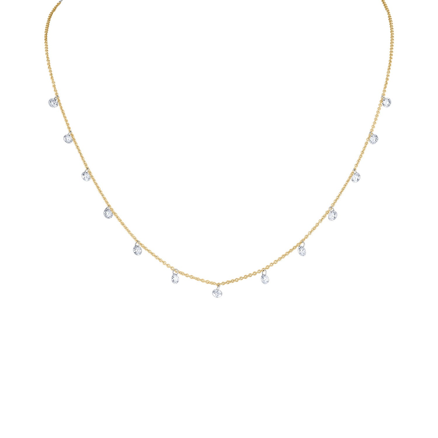 14KT GOLD THIRTEEN PIERCED DIAMOND DANGLE NECKLACE