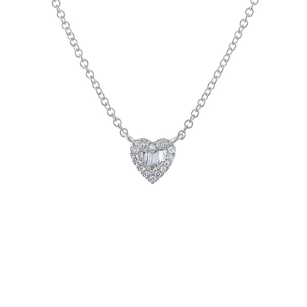 14KT GOLD DIAMOND BAGUETTE MINI HEART NECKLACE