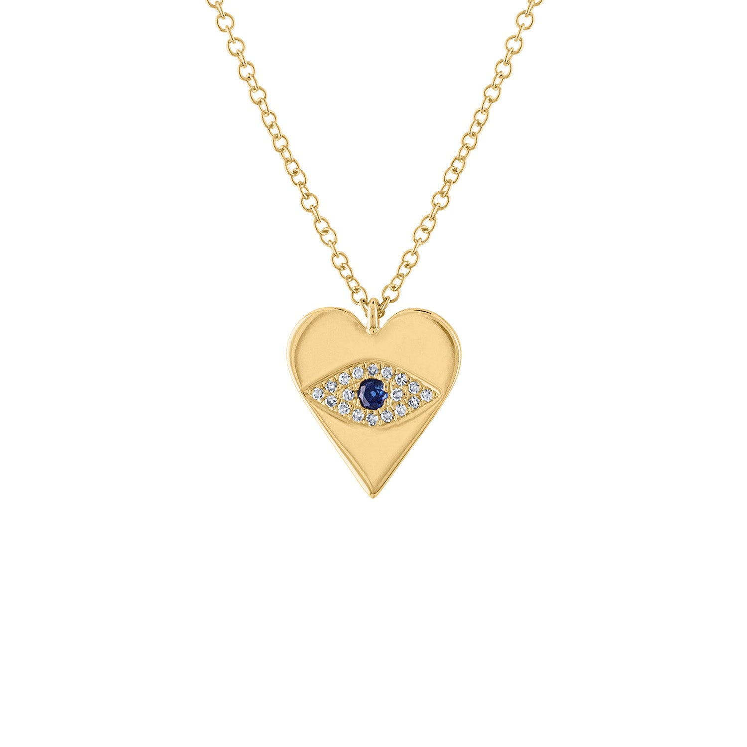 14KT GOLD HEART WITH DIAMOND EVIL EYE NECKLACE