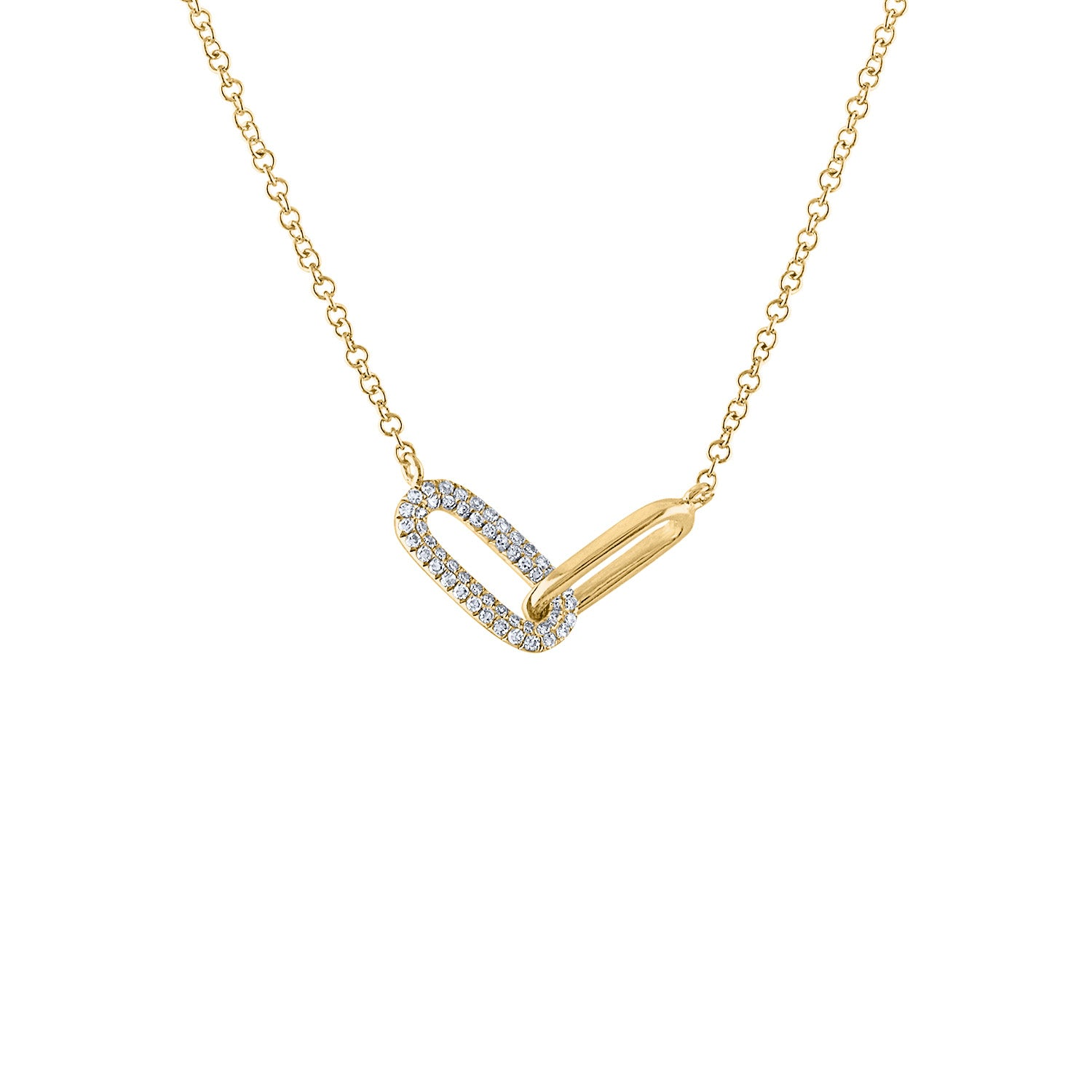 14KT GOLD DIAMOND INTERLOCKING RECTANGLE LINK NECKLACE