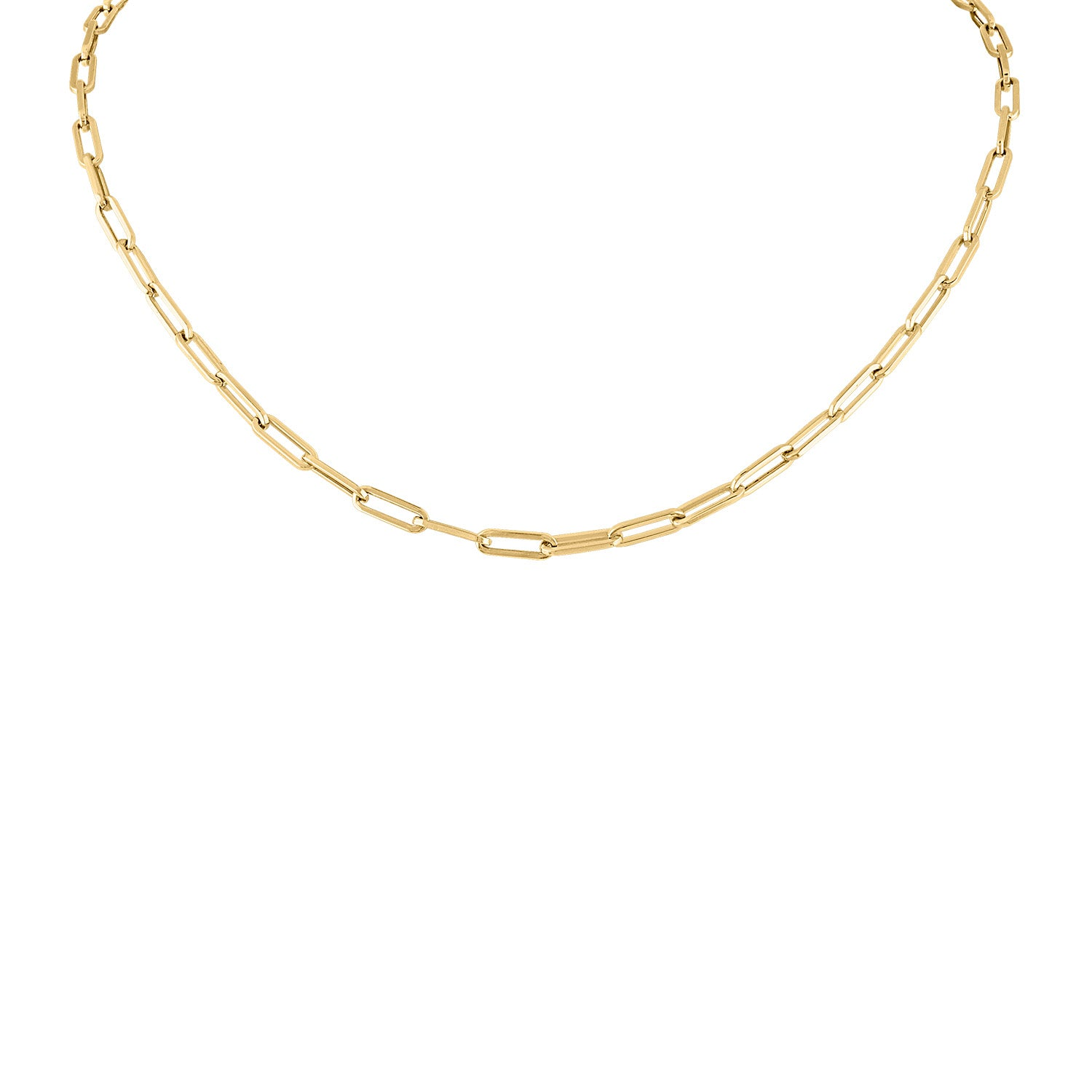 14KT GOLD XSMALL RECTANGLE LINK NECKLACE