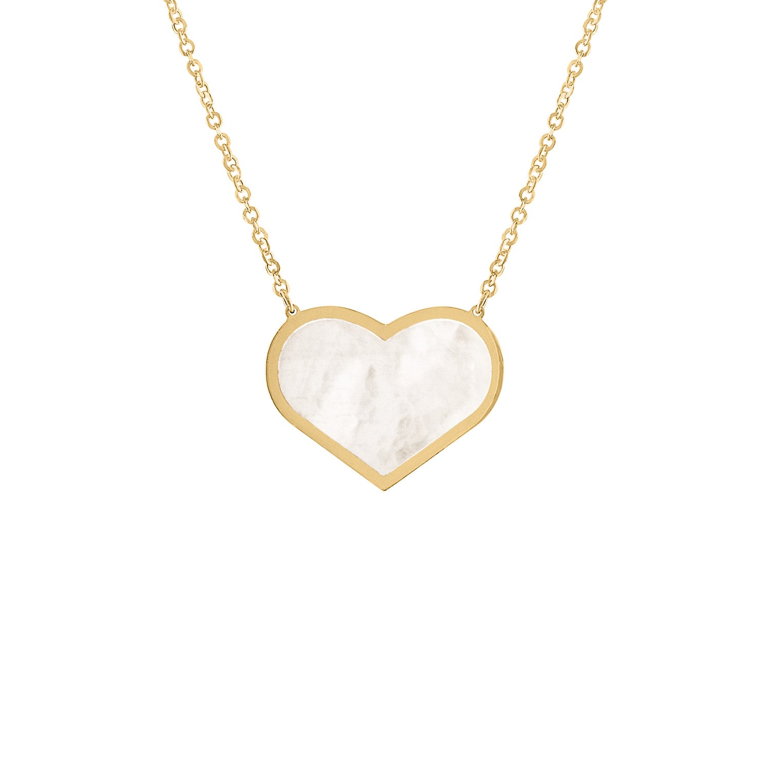 14KT GOLD LARGE MOTHER OF PEARL HEART NECKLACE