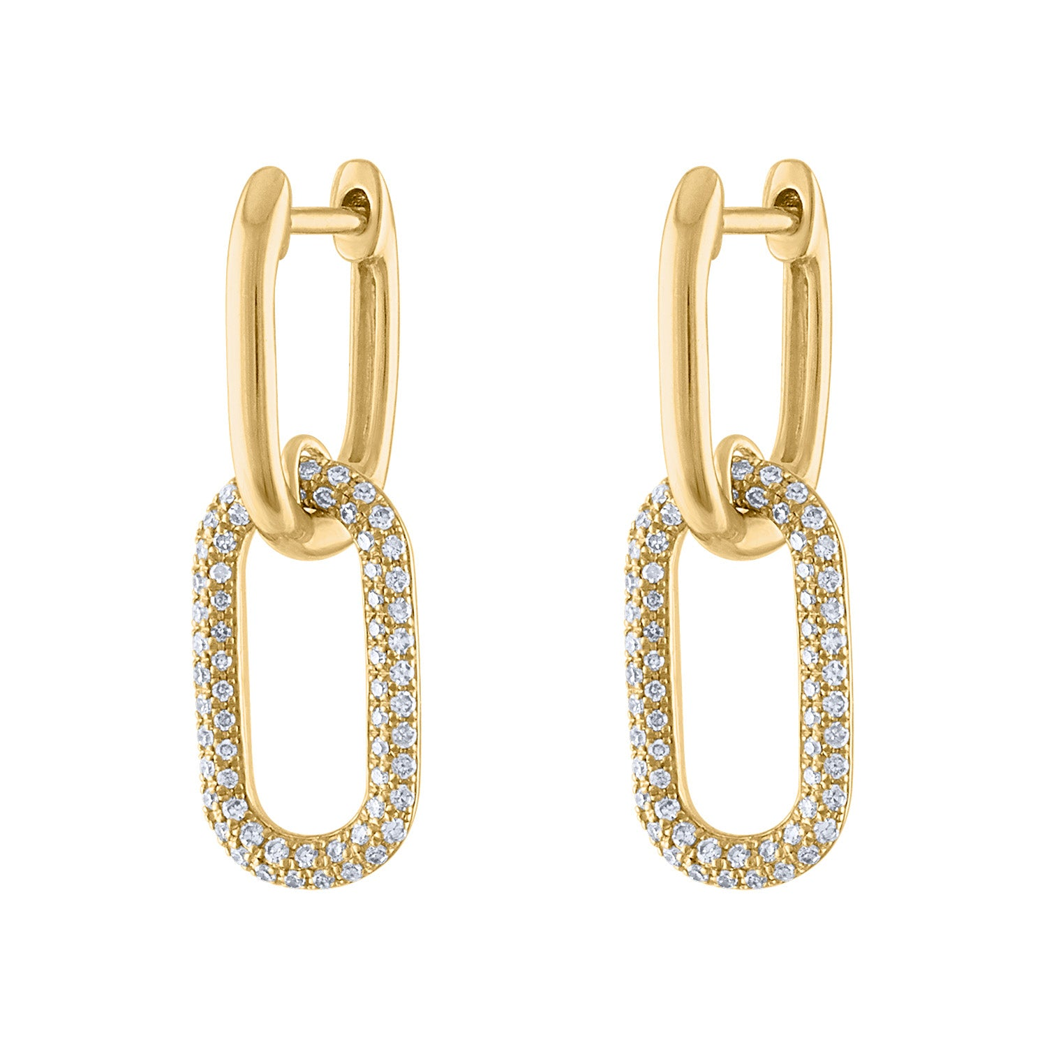 14KT GOLD DIAMOND SMALL 2 OVAL LINK HUGGIE EARRING