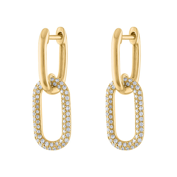 14KT GOLD DIAMOND SMALL TWO OVAL LINK HUGGIE EARRING