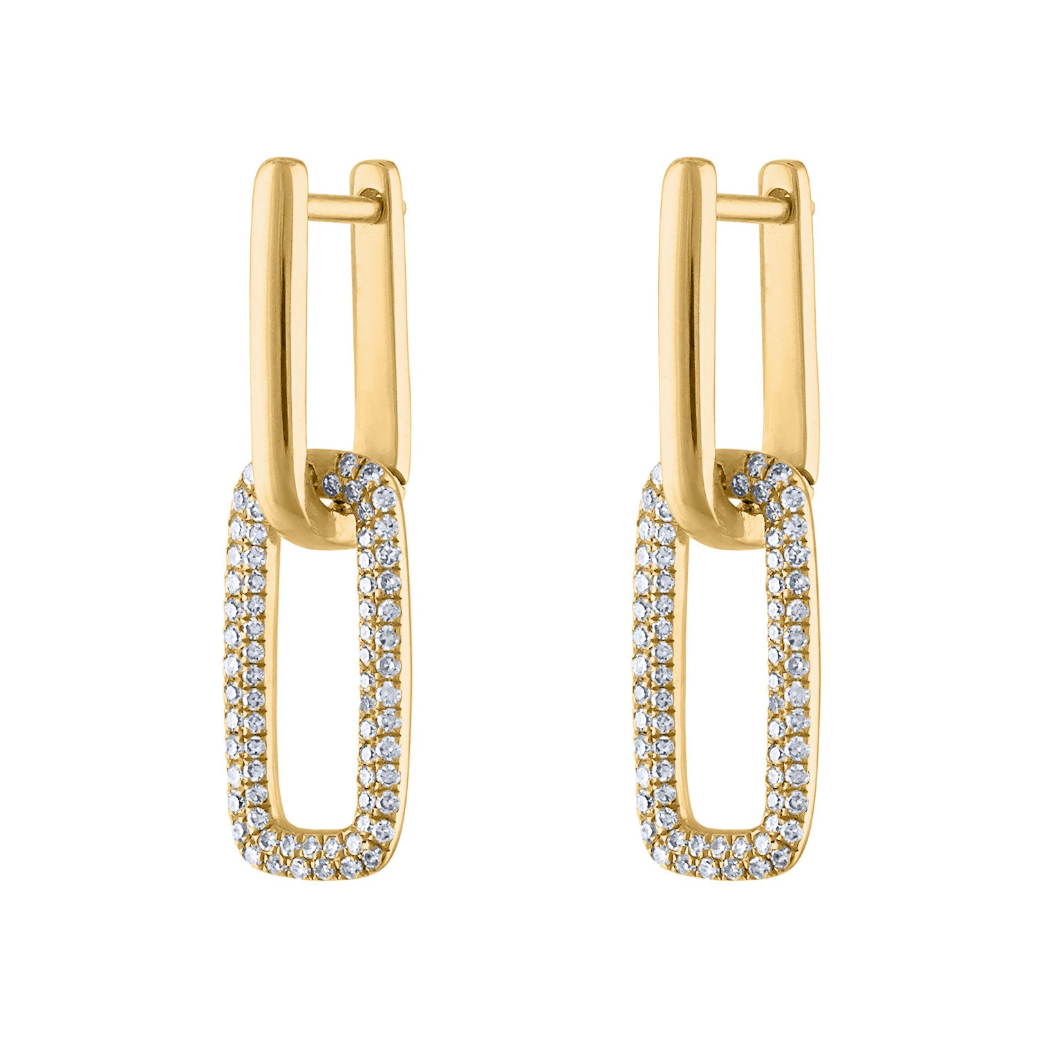 14KT GOLD DIAMOND SMALL TWO RECTANGLE LINK HUGGIE EARRING