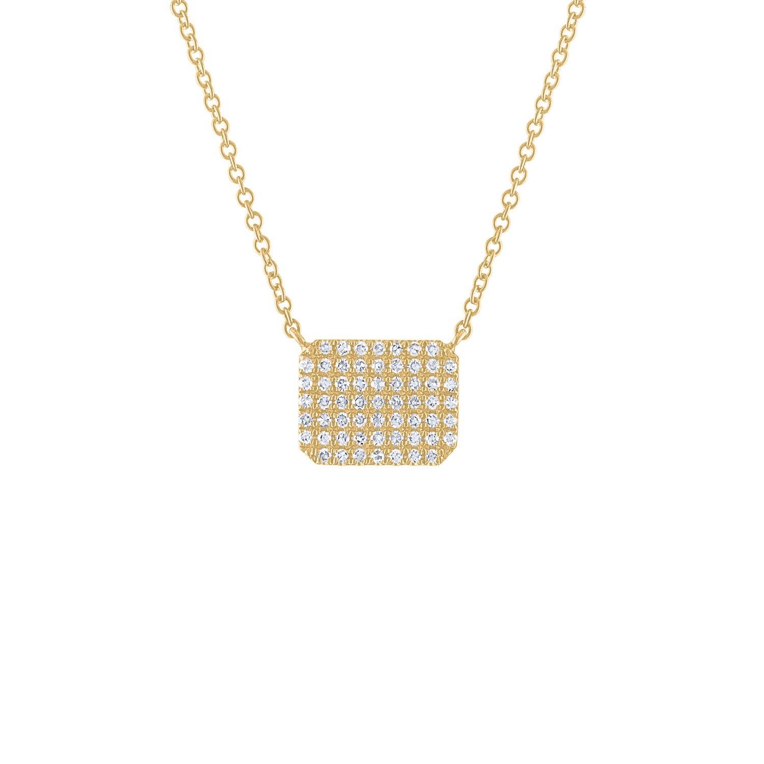 14KT GOLD PAVE DIAMOND HEXAGON NECKLACE