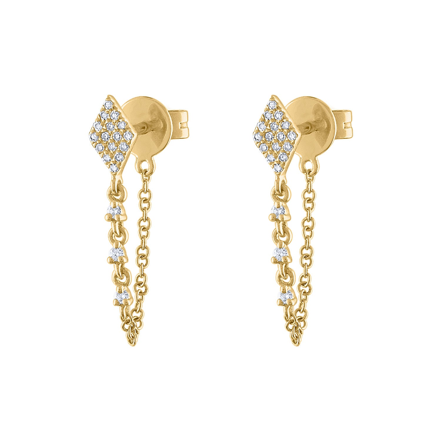 14KT GOLD DIAMOND SHAPE CHAIN EARRING