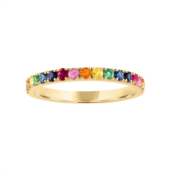 14KT GOLD MULTI-GEMSTONE RING GUARD