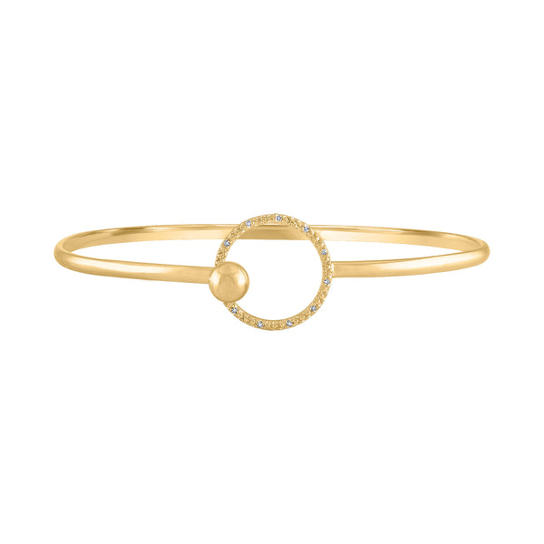 STERLING SILVER DIAMOND OPEN CIRCLE TENSION BANGLE