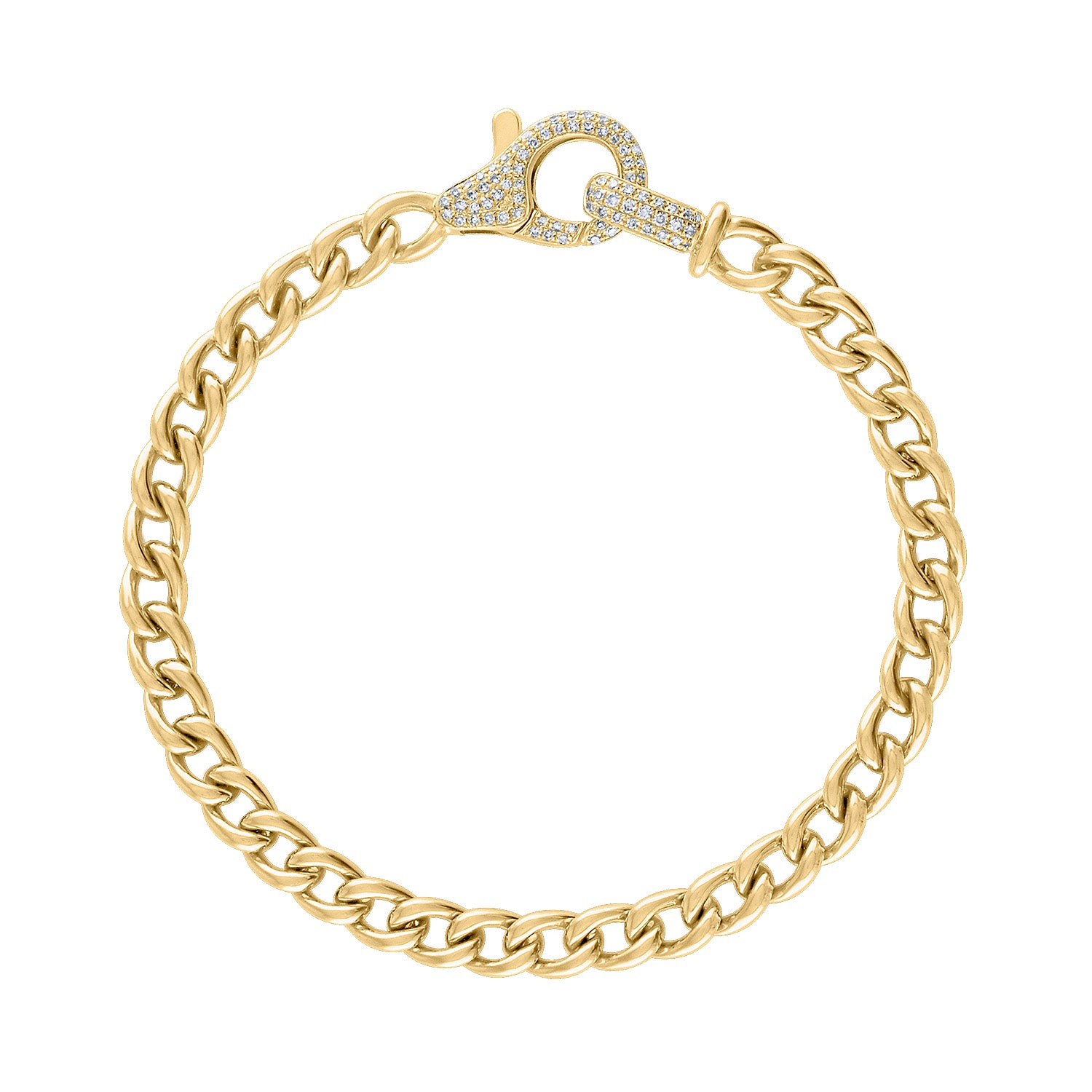 14KT GOLD CURB LINK WITH DIAMOND CLASP BRACELET