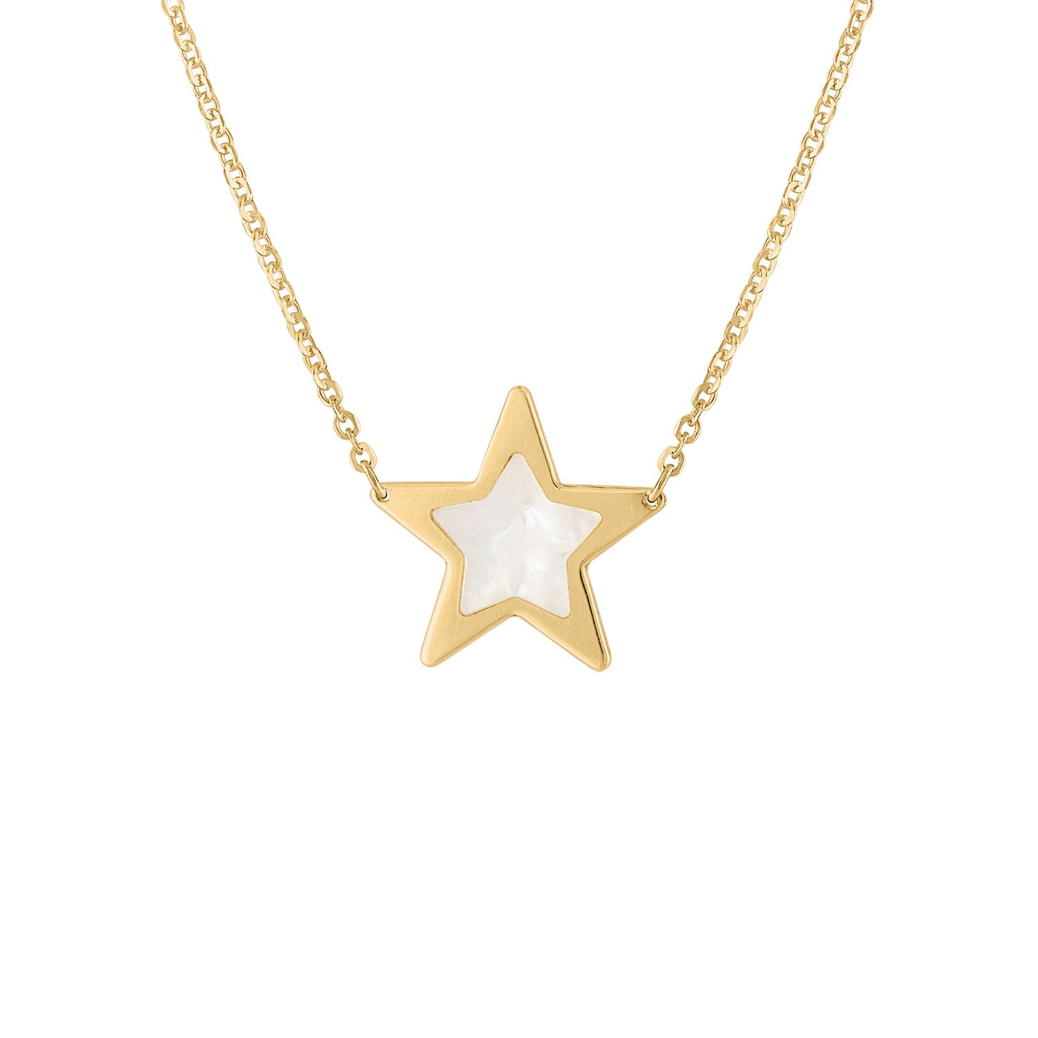 14KT GOLD SMALL MOTHER OF PEARL STAR NECKLACE