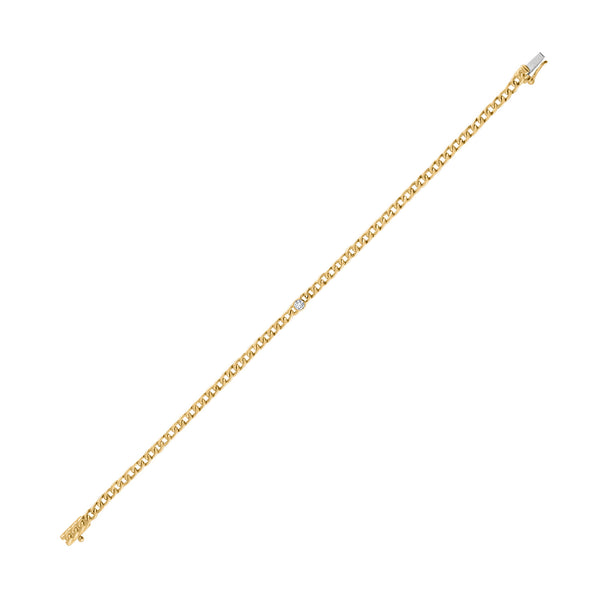 14KT GOLD DIAMOND BEZEL CURB LINK BRACELET