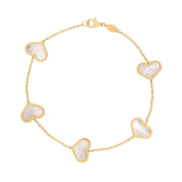 14KT GOLD MOTHER OF PEARL LARGE HEART BRACELET