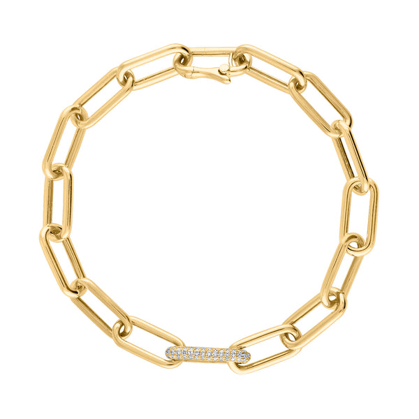 14KT GOLD SINGLE PAVE DIAMOND OVAL LINK BRACELET