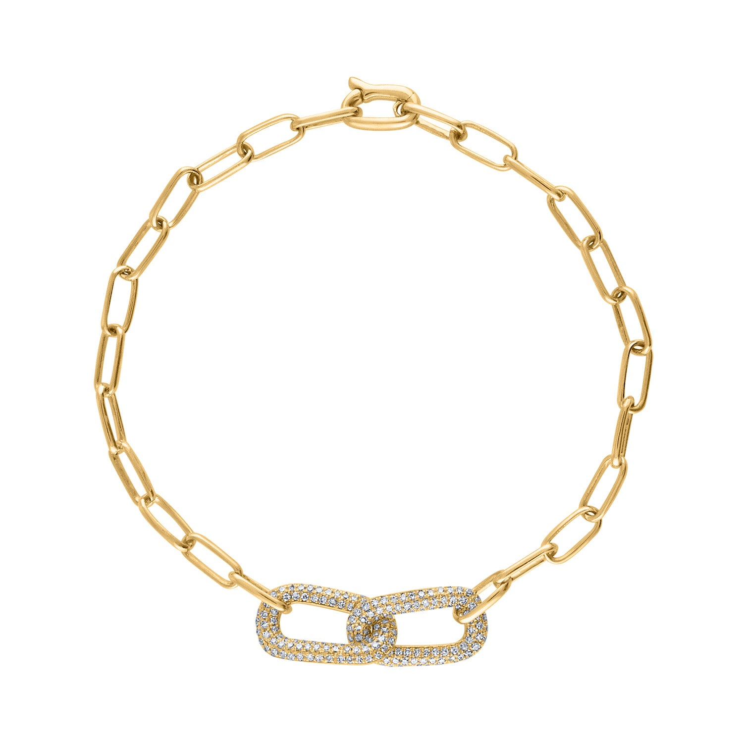 14KT GOLD DOUBLE PAVE DIAMOND LINK BRACELET