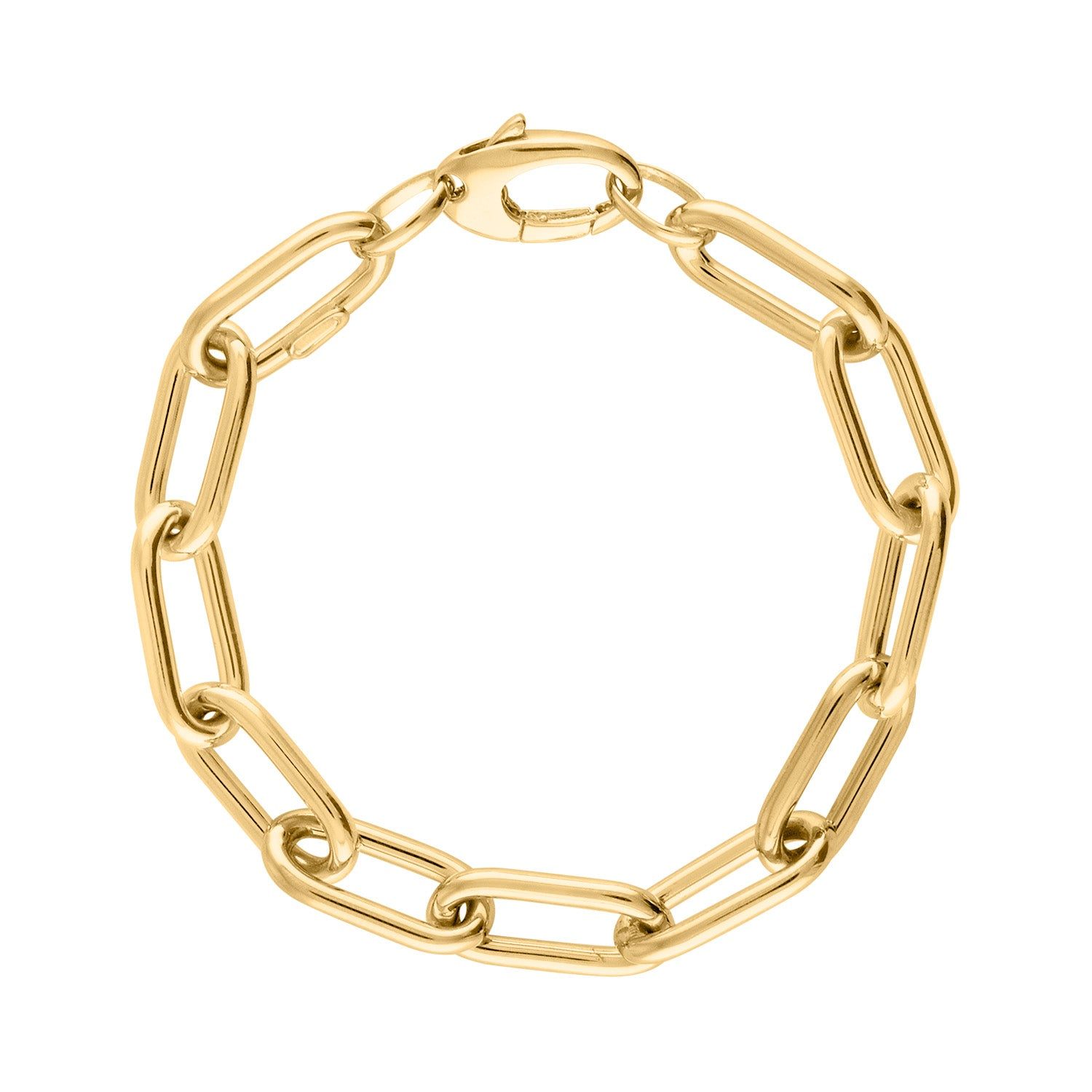 14KT GOLD LARGE THICK OVAL BRACELET