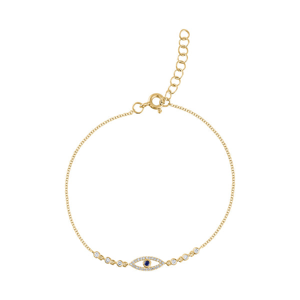 14KT GOLD DIAMOND EVIL EYE BY THE YARD BRACELET