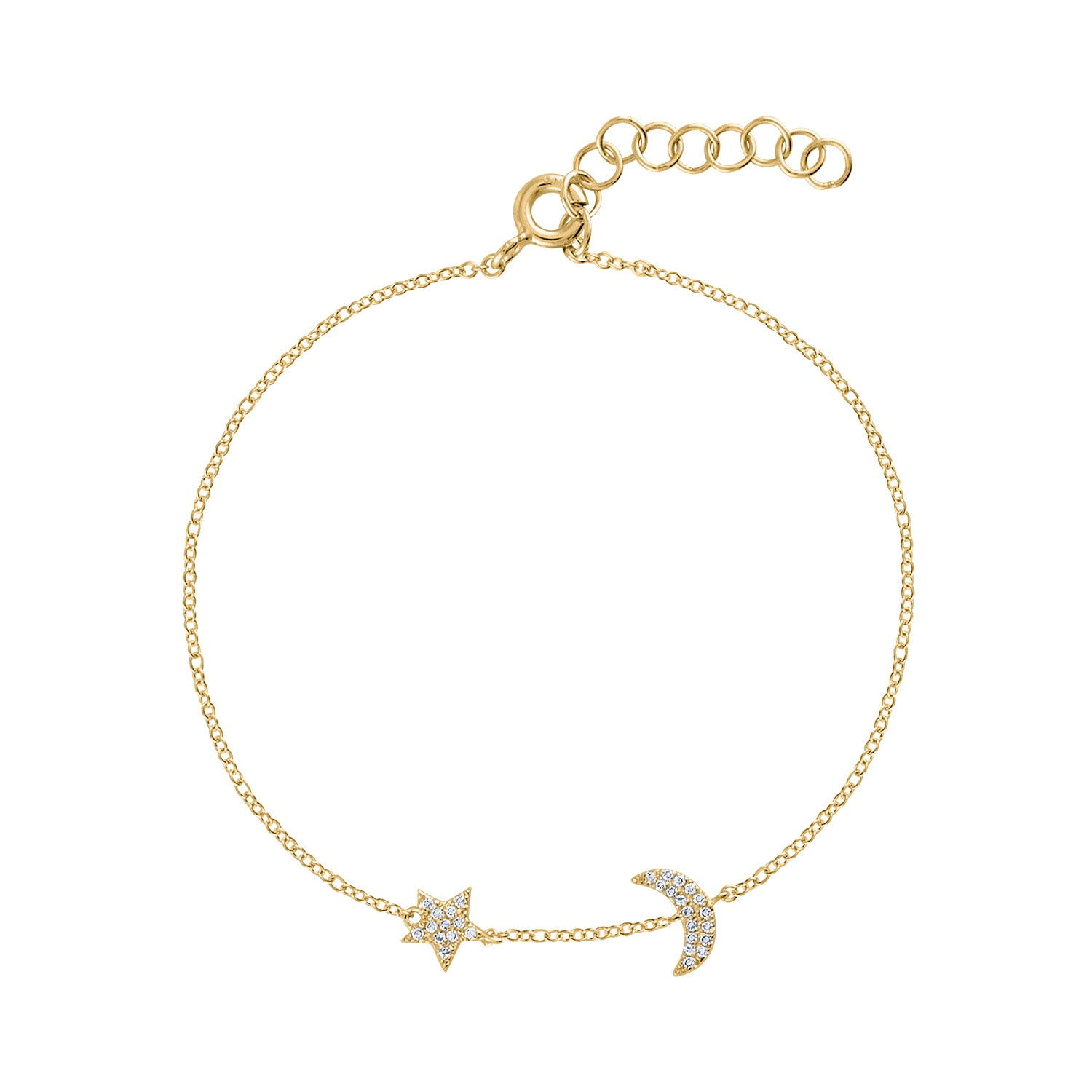 14KT GOLD DIAMOND STAR AND CRESCENT BRACELET