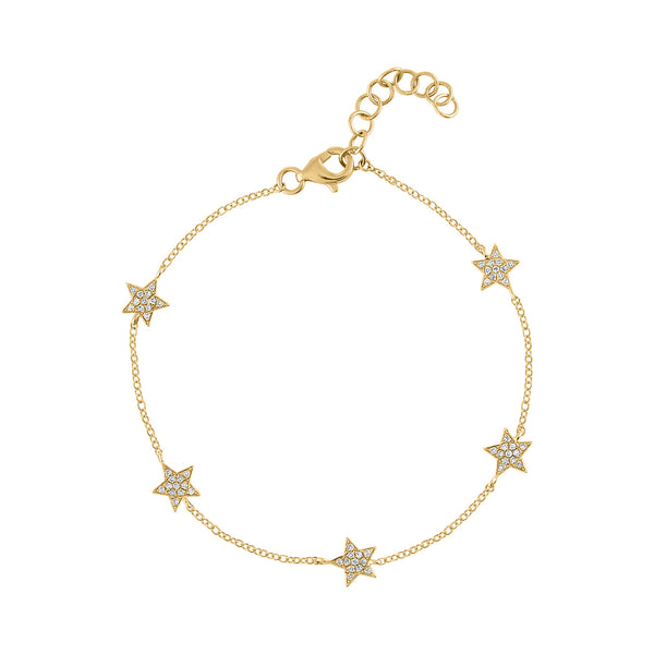 14KT GOLD DIAMOND FIVE STAR BRACELET