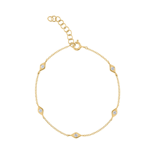 14KT GOLD DIAMOND MINI EVIL EYE BRACELET