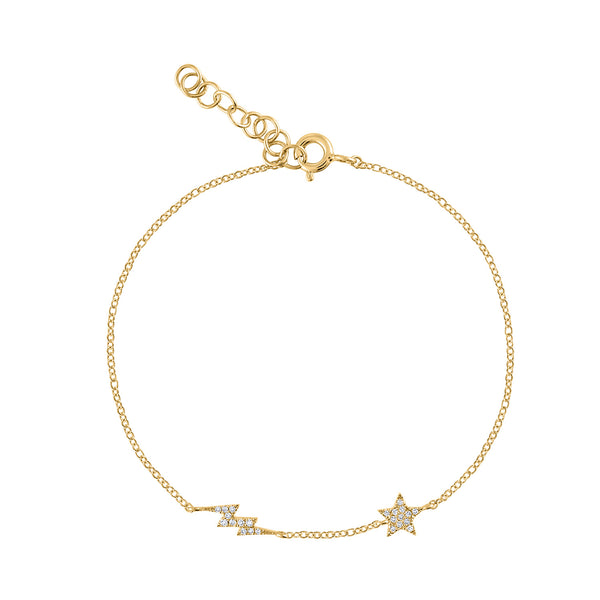 14KT GOLD DIAMOND STAR AND LIGHTENING BOLT BRACELET
