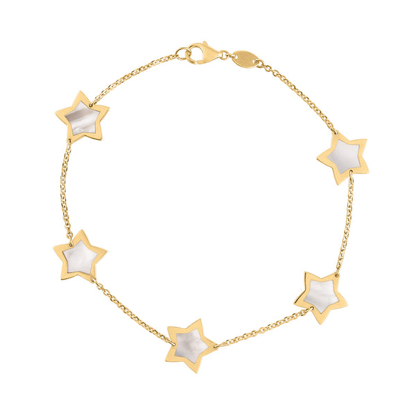 14KT GOLD MOTHER OF PEARL STAR BRACELET