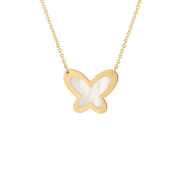 14KT GOLD LARGE MOTHER OF PEARL BUTTERFLY NECKLACE