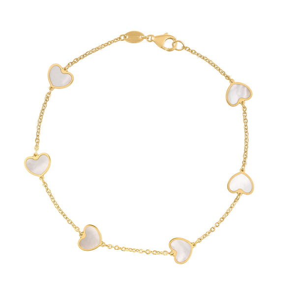 14KT GOLD MOTHER OF PEARL SMALL HEART BRACELET