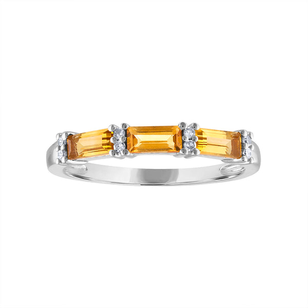 STERLING SILVER DIAMOND CITRINE RING