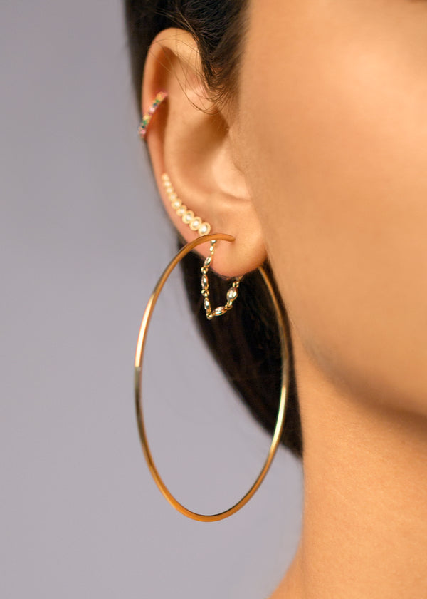 14KT GOLD THIN ENDLESS 60MM HOOP EARRING