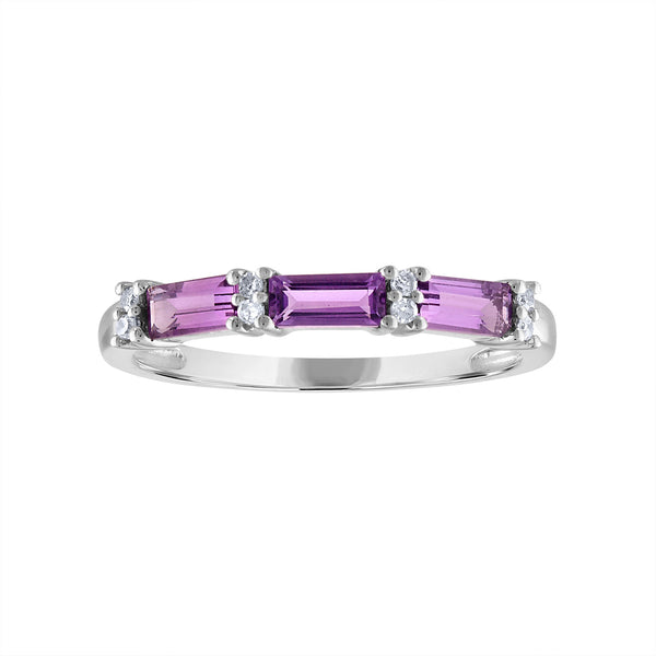 STERLING SILVER DIAMOND AMETHYST RING