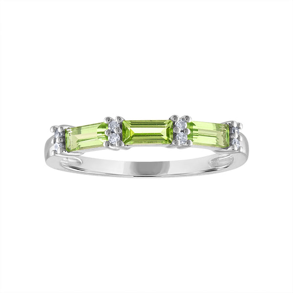 STERLING SILVER DIAMOND PERIDOT RING