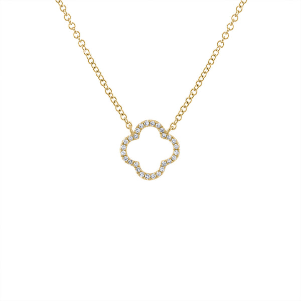 14KT GOLD DIAMOND OPEN CLOVER NECKLACE