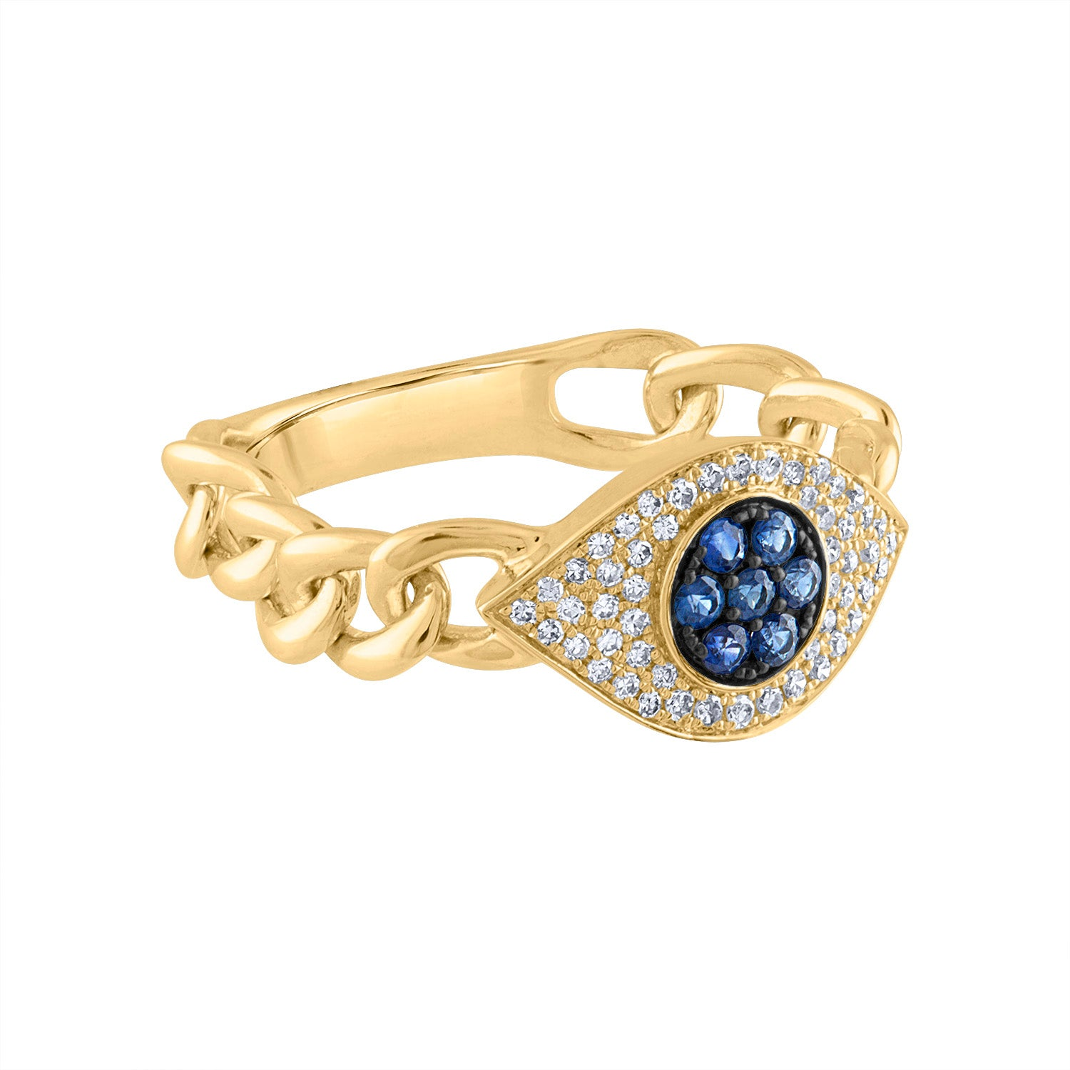 14KT GOLD DIAMOND AND BLUE SAPPHIRE EVIL EYE CHAIN LINK RING