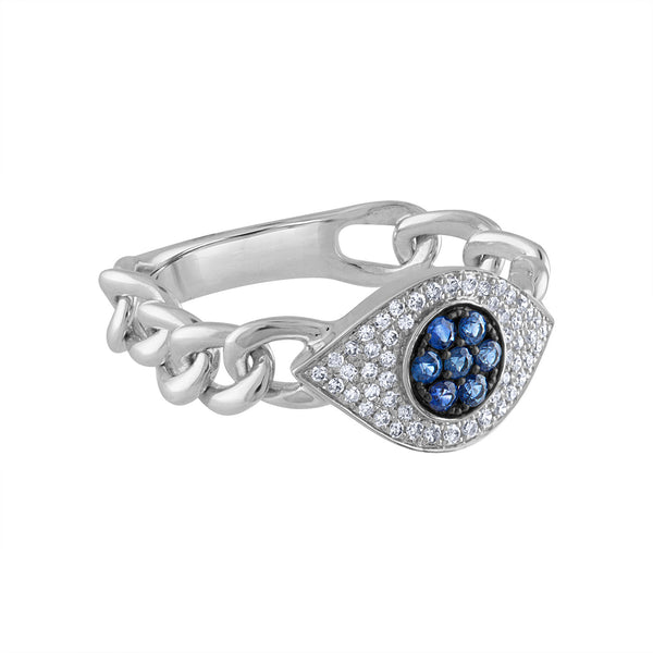 14KT GOLD DIAMOND AND BLUE SAPPHIRE EVIL EYE LINK RING