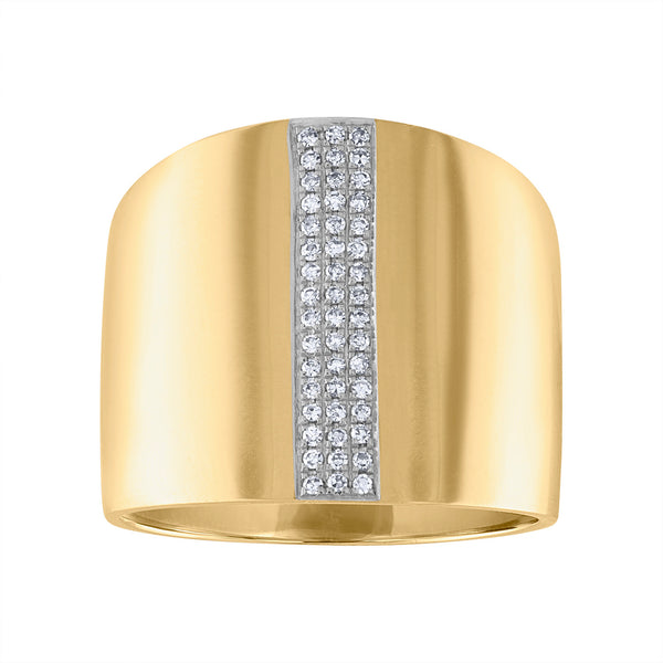 14KT GOLD DIAMOND LARGE BAND RING