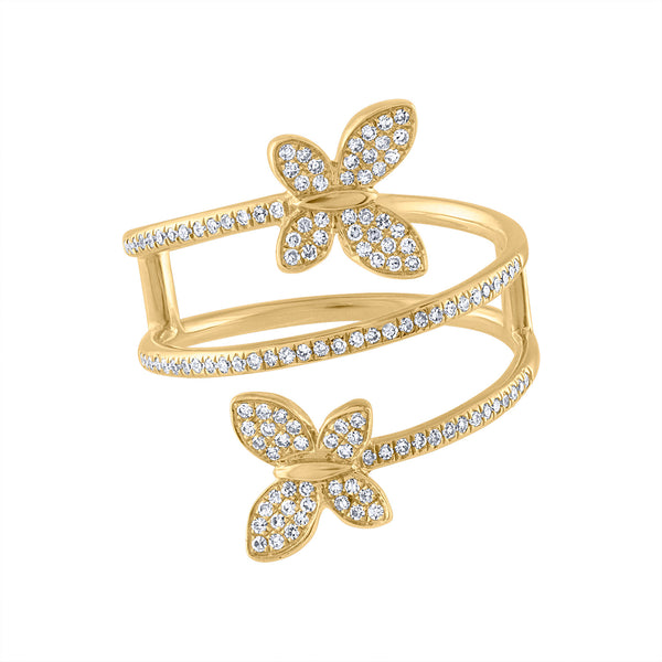 14KT GOLD DIAMOND DOUBLE BUTTERFLY WRAP RING