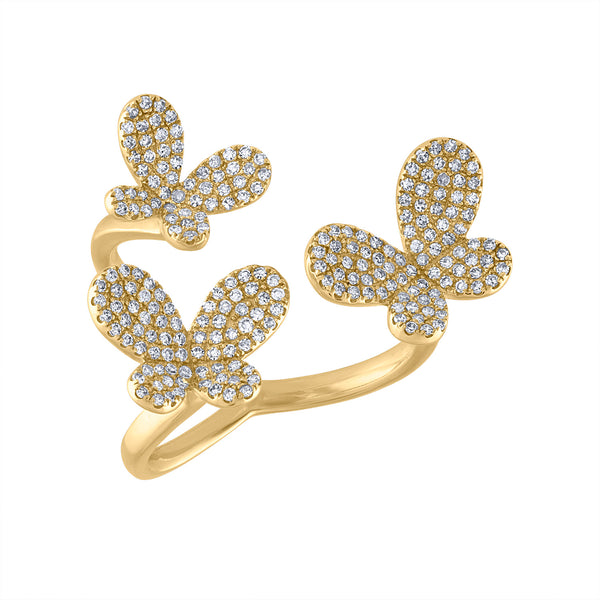 14KT GOLD DIAMOND 3 BUTTERFLY RING
