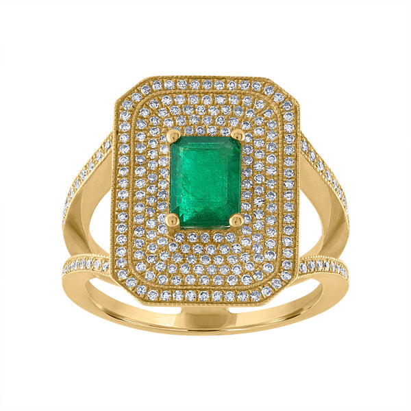14KT GOLD DIAMOND AND EMERALD OCTAGON SHAPE RING