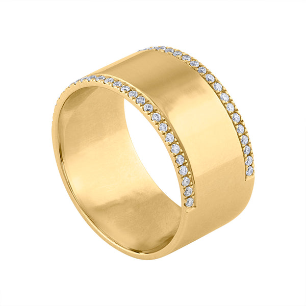 14KT GOLD WIDE CIGAR DIAMOND 2 LINE RING