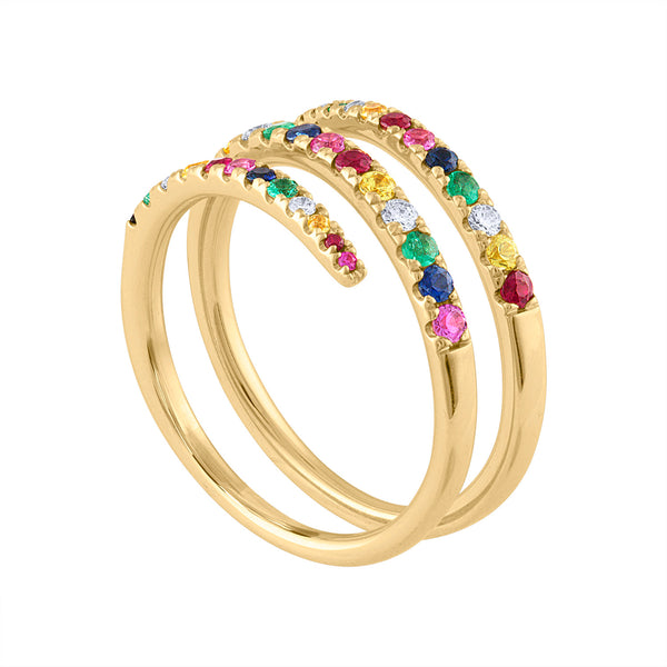 14KT GOLD MULTI-COLOR 3 LINE WRAP RING