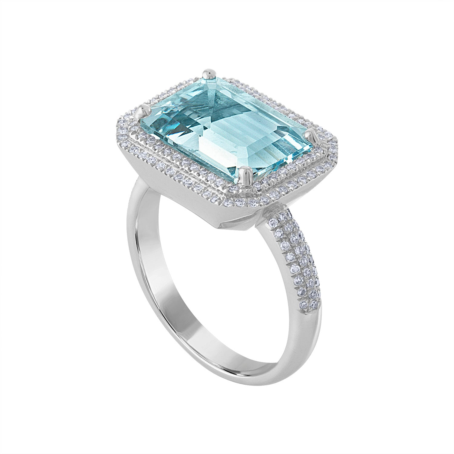 14KT GOLD DIAMOND AND EMERALD CUT AQUAMARINE RING
