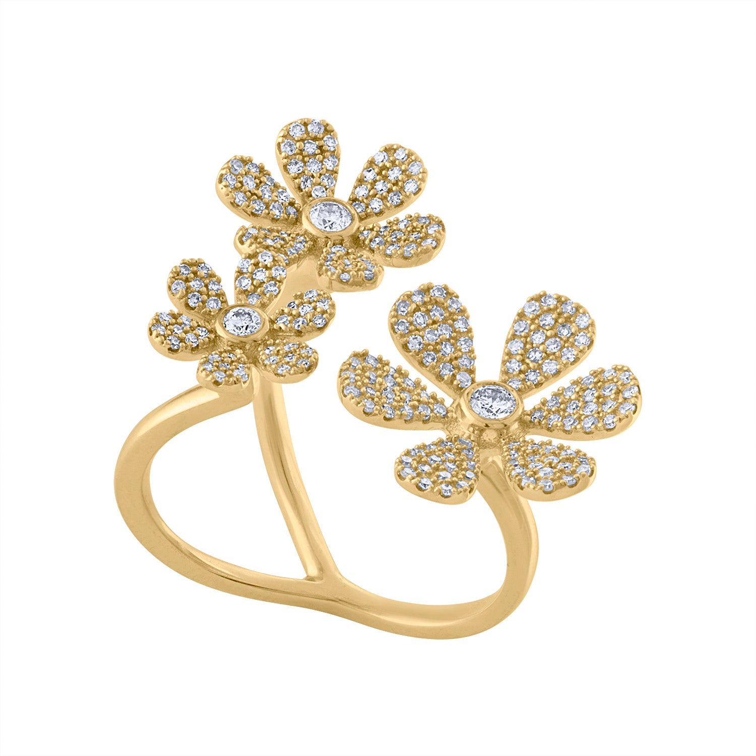 14KT GOLD DIAMOND 3 FLOWER RING