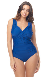 Navy Crossover Ruched Swimsuit