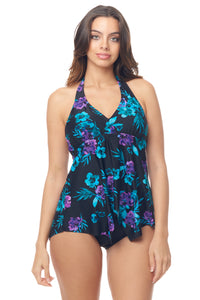 Two Shade Flower Tankini Top