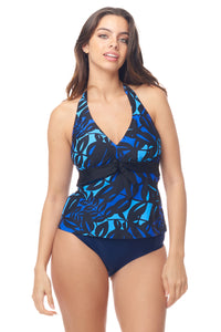 Blue Leaf Halter Tankini Top