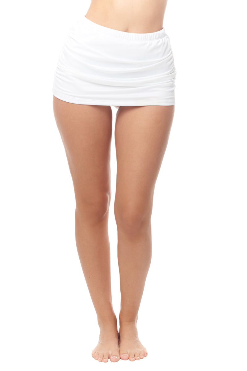 White Shirred Skirt