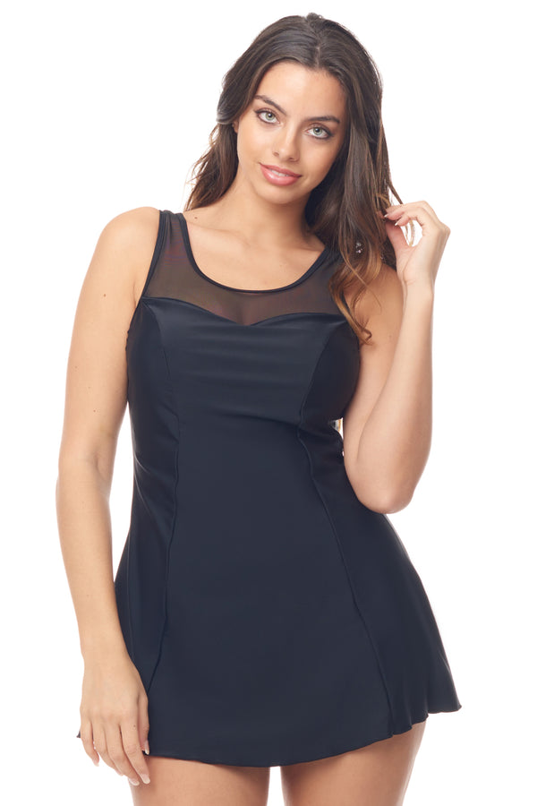 Black Mesh Swimdress